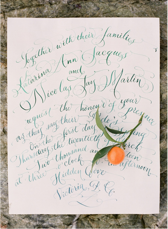 orange wedding calligraphy hand lettered laura lavender