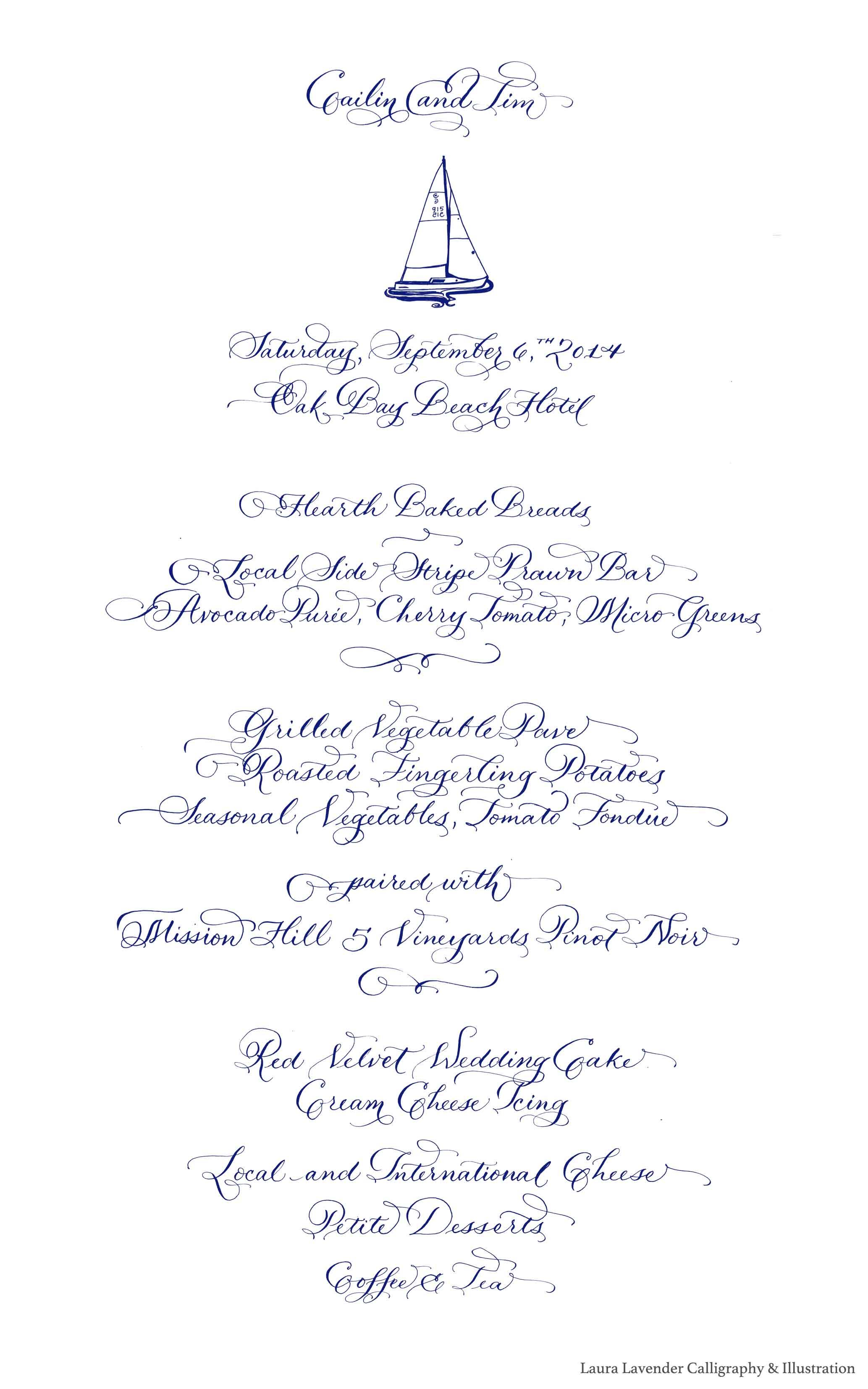 menu sailboat laura lavender calligraphy copy
