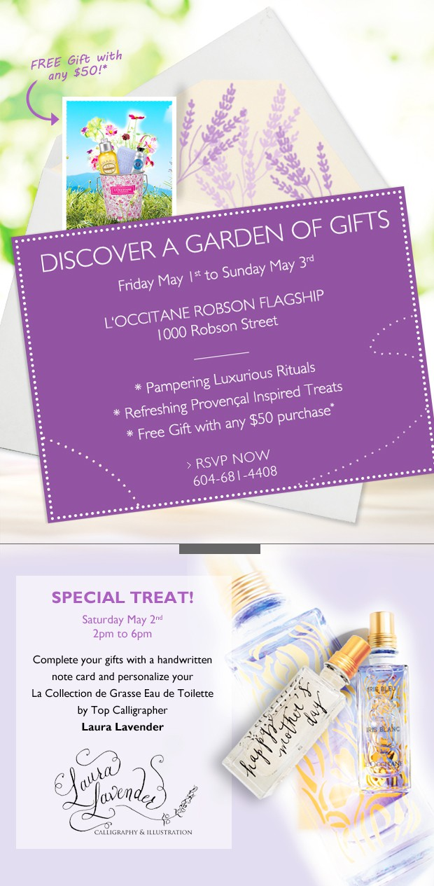 laura lavender mothers day calligraphy l'occitane