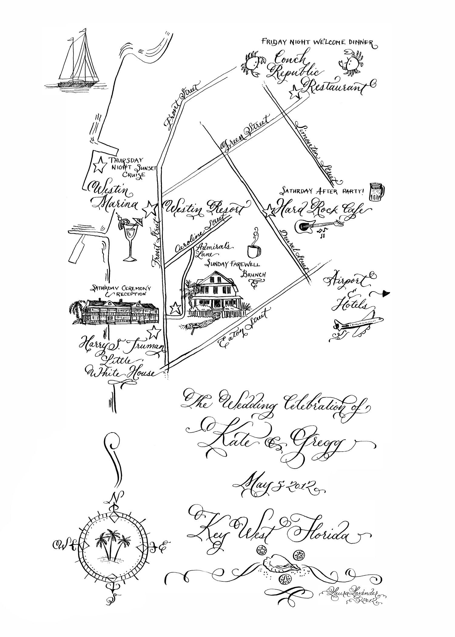 This hand lettered map for a wedding in Key West was created with pointed pen and ink on white cotton paper, then scanned at high resolution for printing.