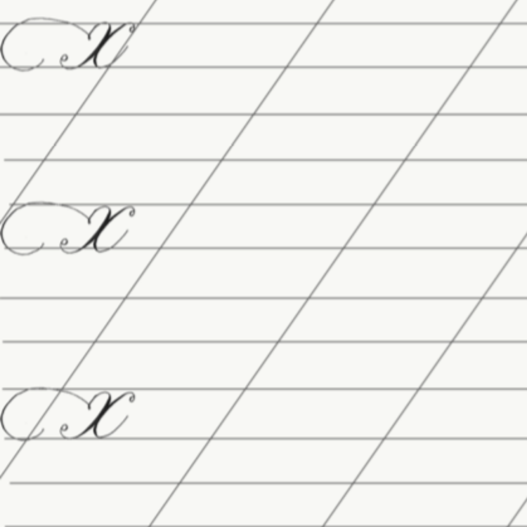 Calligraphy Lines with x-Height   These calligraphy lines have the x- Height marked. The x- Height is the height of a minuscule x in a given calligraphy hand. Use this sheet to keep track of your sizing and spacing. Take the file to your print shop and have it printed on plastic to use on your light table.