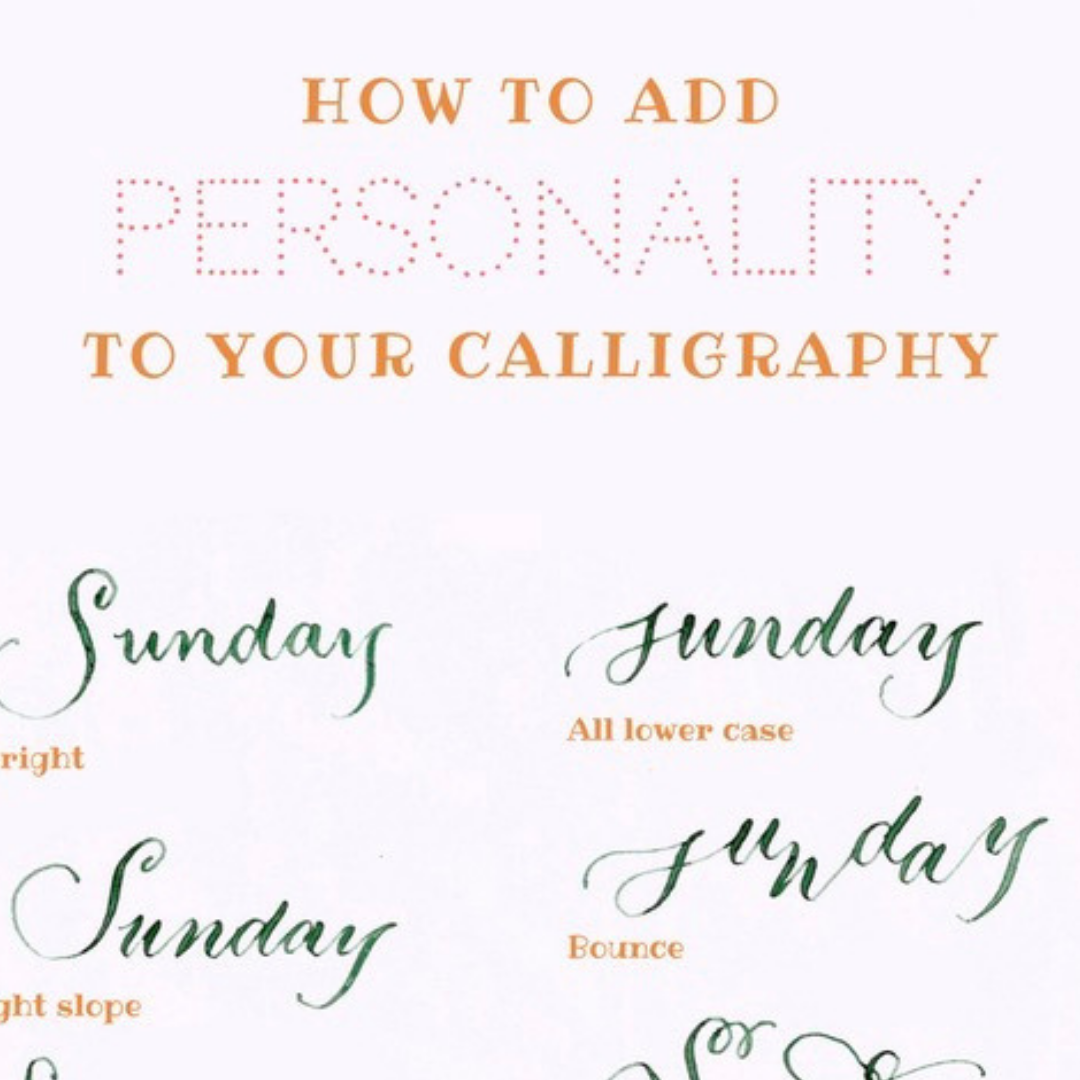 Add personality to Your Calligraphy   Add some more personality to your pointed pen calligraphy with this fun download. Work through this sheet, to add some fun variations and styles to your calligraphy.