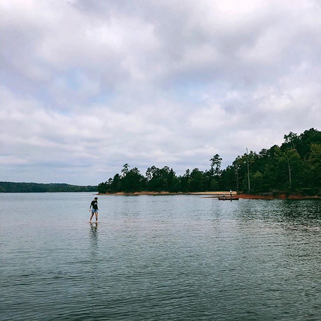 Beware! 🚤 There are shallow waters on the lake that would love to put a hole in your boat. We're in a canoe so it's all good 🛶 #camping #boating #scstateparks #iphone #canoe #paddler #getoutstayout #summer #southcarolina