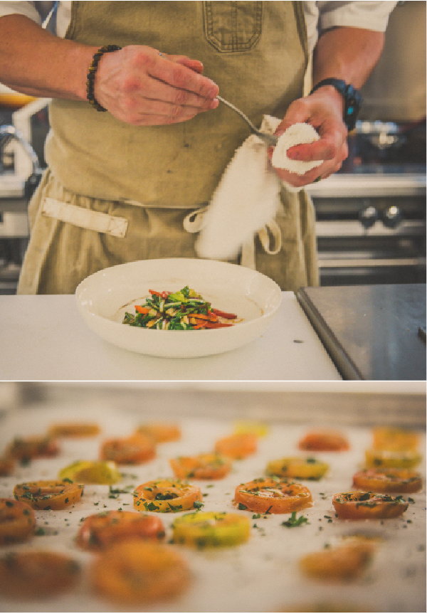Chef Simon prepares fresh vegetables from locally-grown produce.