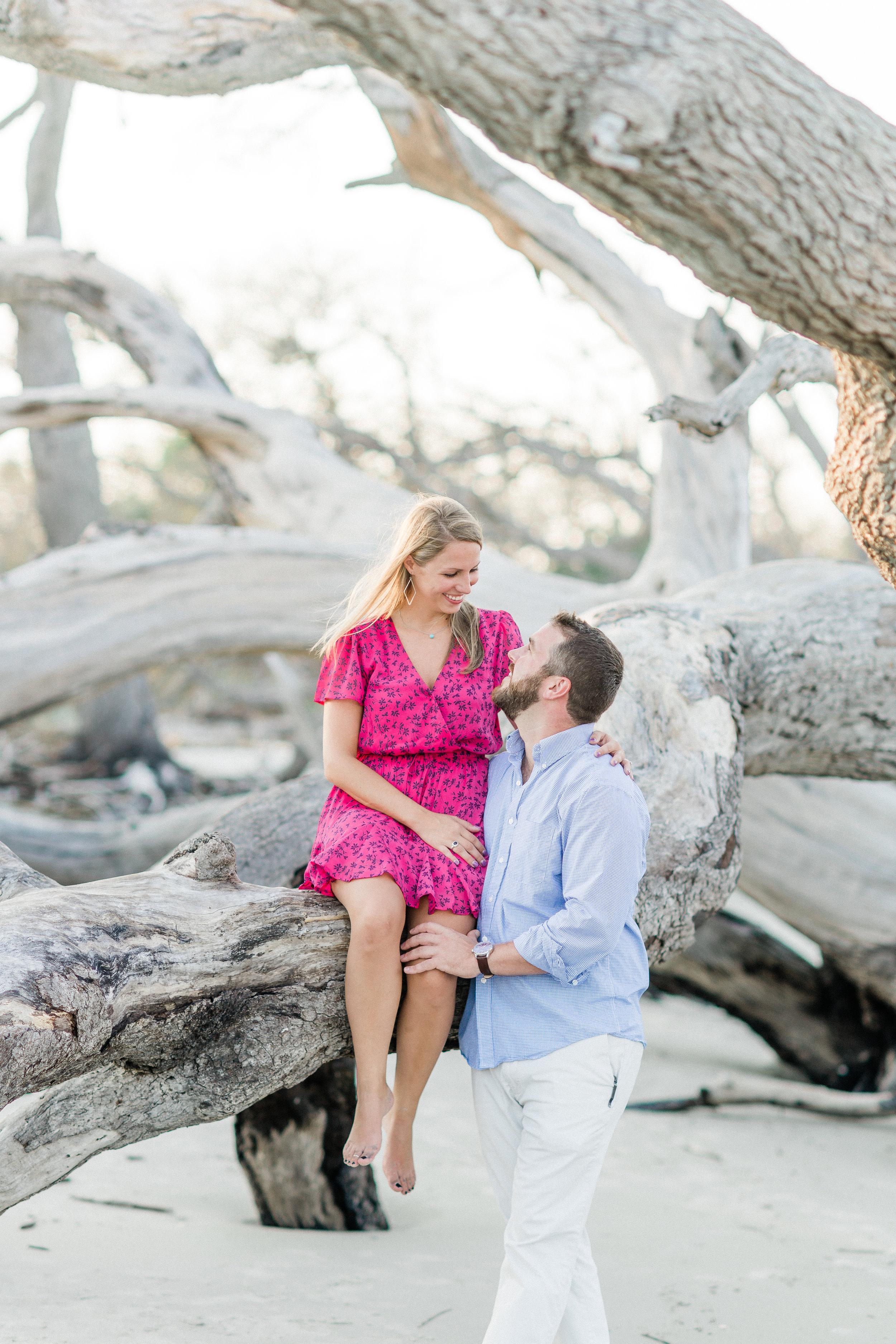 driftwood beach engagement photos