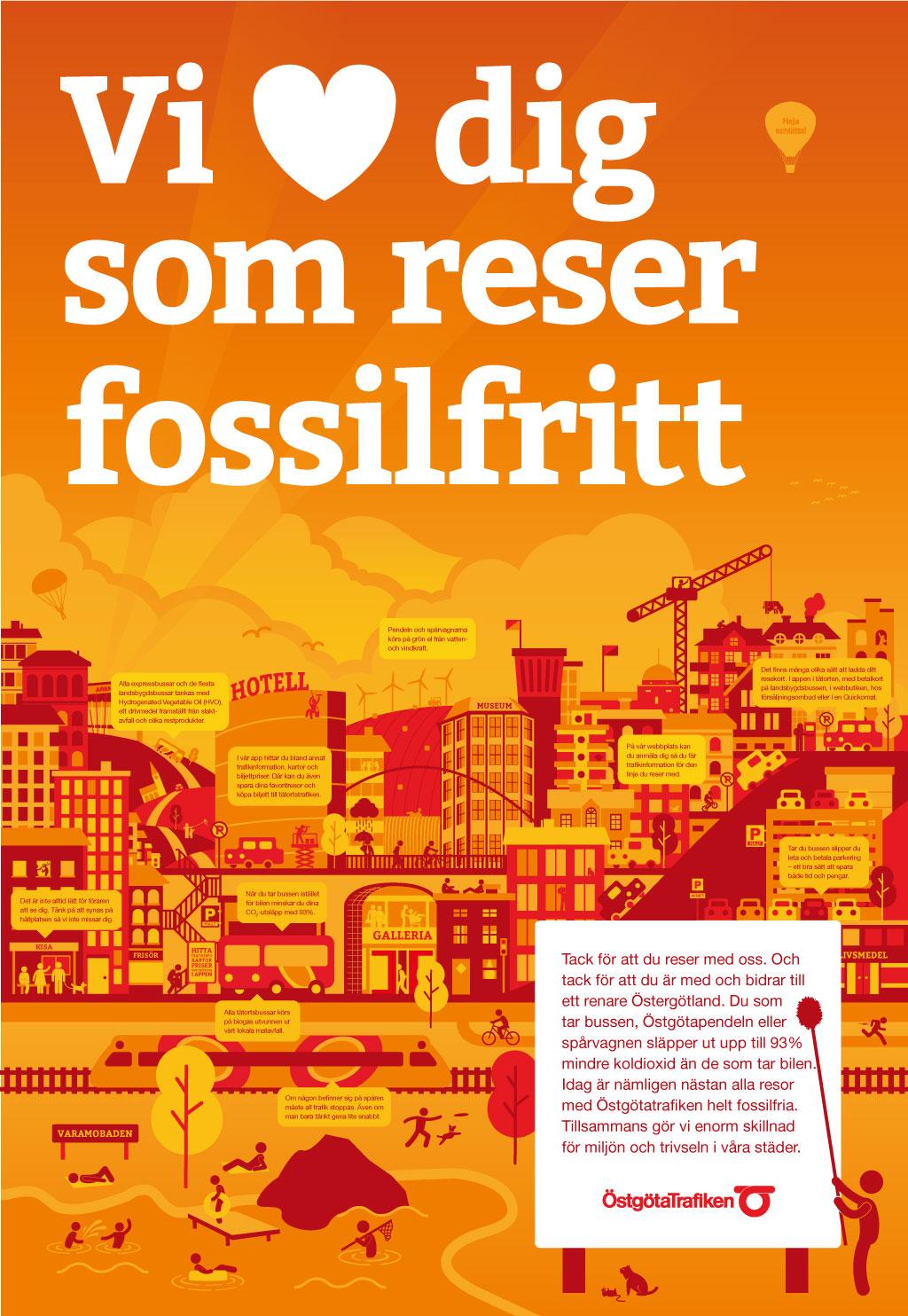 En affisch med all information (alla pratbubblor) samlad på en och samma.