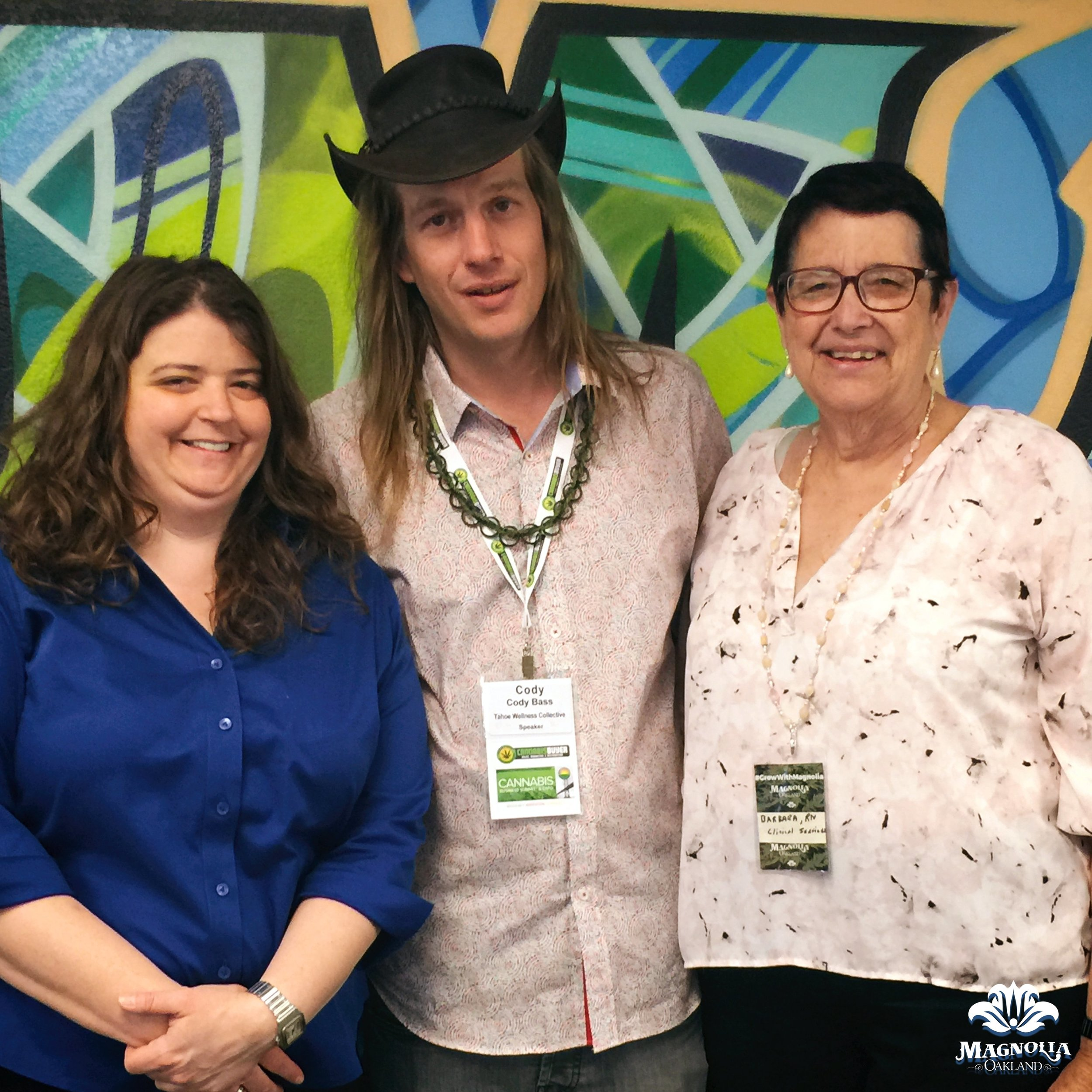 Tahoe Wellness Cooperative  founder Cody Bass took a tour of  Magnolia  today as part of his visit to Oakland for the NCIA  Cannabis Business Summit & Expo . Pictured from left to right: Liana Held, founder of  Liana Ltd ; Cody Bass; and, Barbara Blaser, Magnolia's Director of Clinical Wellness.