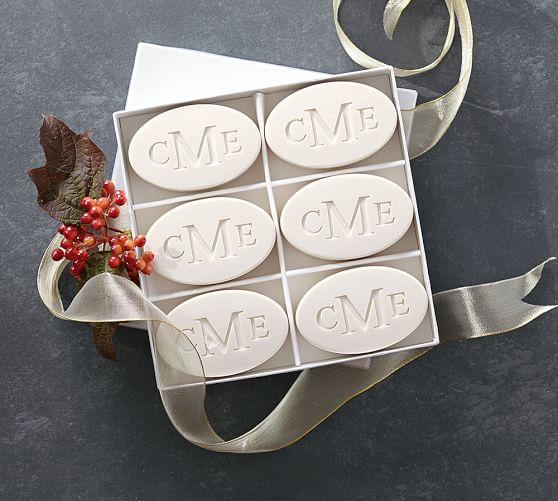 Monogrammed Oval Paper-white Soap Set, by Pottery Barn .