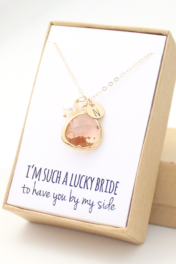 Peach Champagne Gold Teardrop Necklace by  Auri Penner .