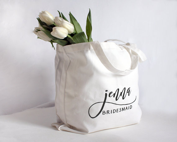 Personalized Bridesmaid Tote by  42 North Designs .