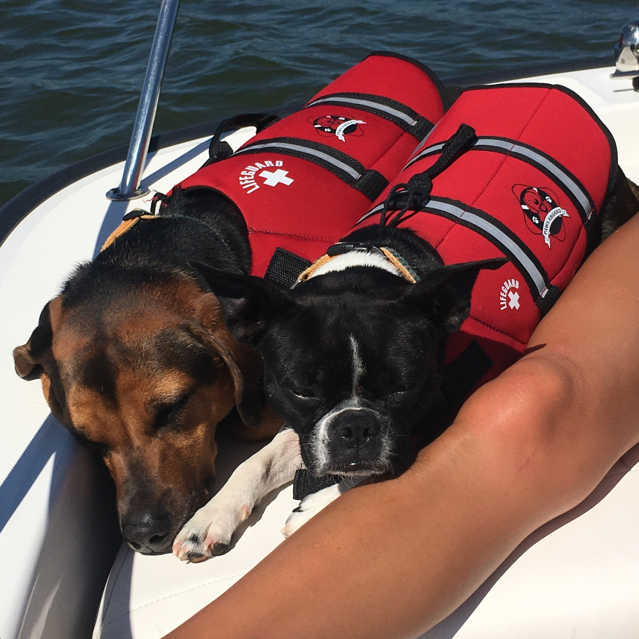 Summer and Sandy working on their tan while boating on Lake Barkley.