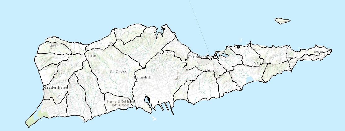 Watersheds map for St. Croix, U.S.V.I.