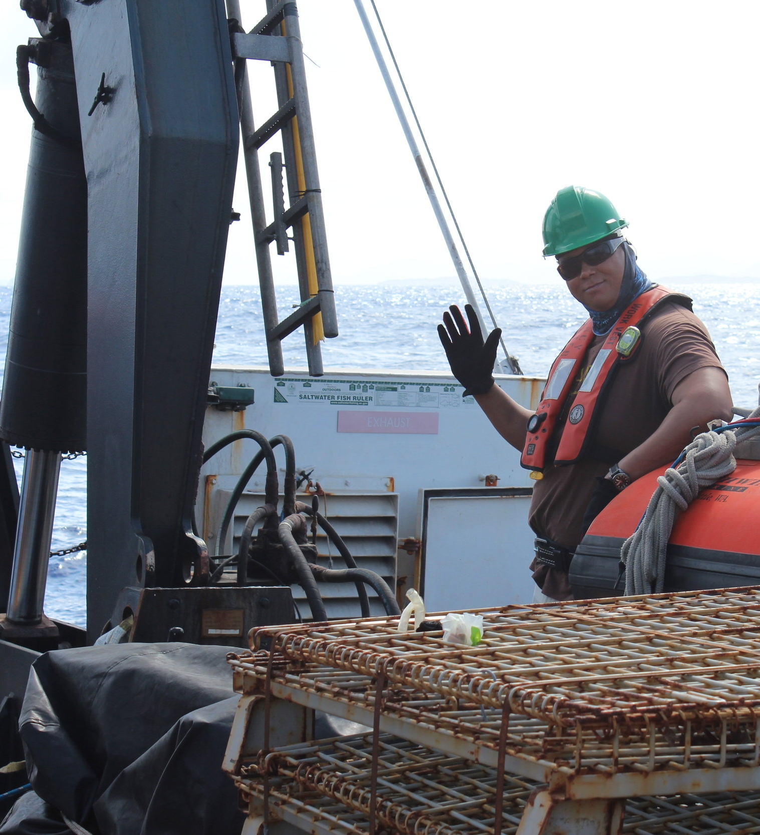 Dr. Habtes onboard the NOAA research vessel Nancy Foster
