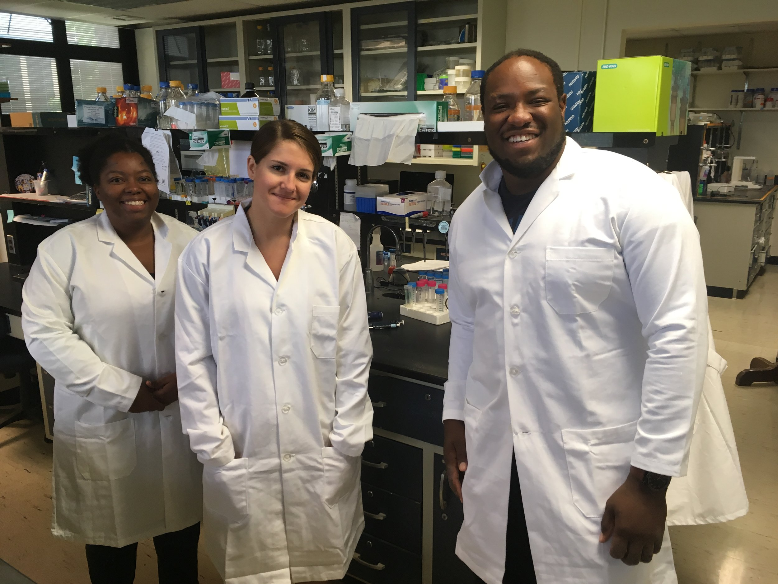 Akacia Halliday, Katharine Egan and Colin Howe in the Pennsylvania State University lab during their NSF funded Bridge to the PhD Program summer study.