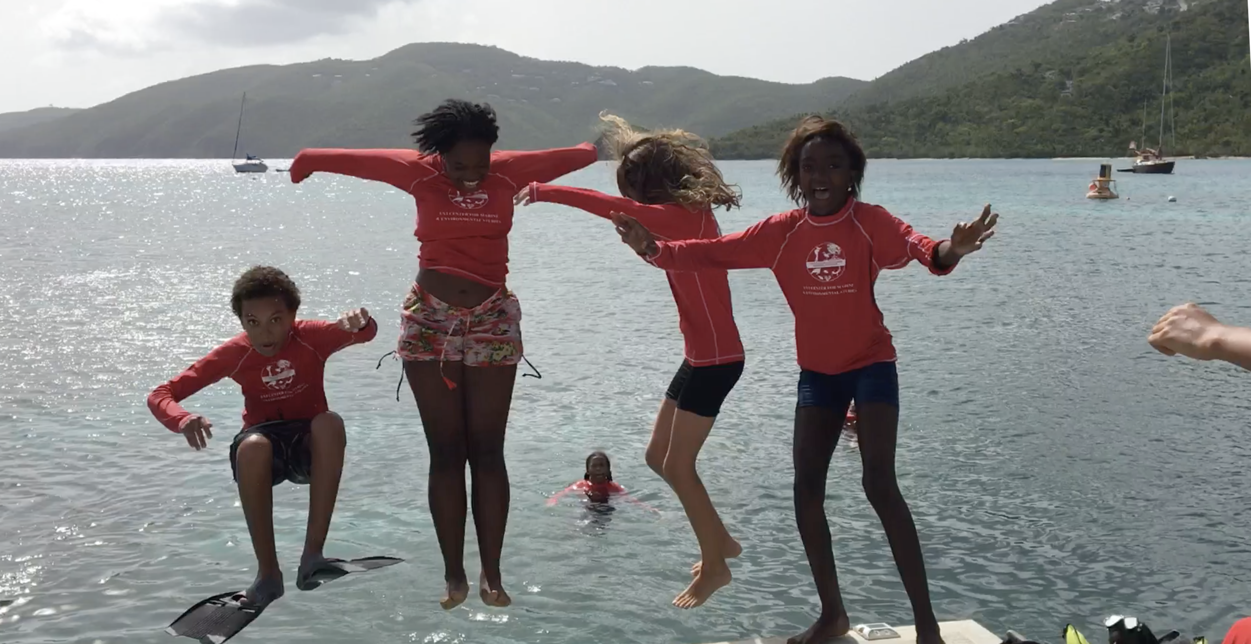 Jumping into the ocean was the student's favorite way to end the day.