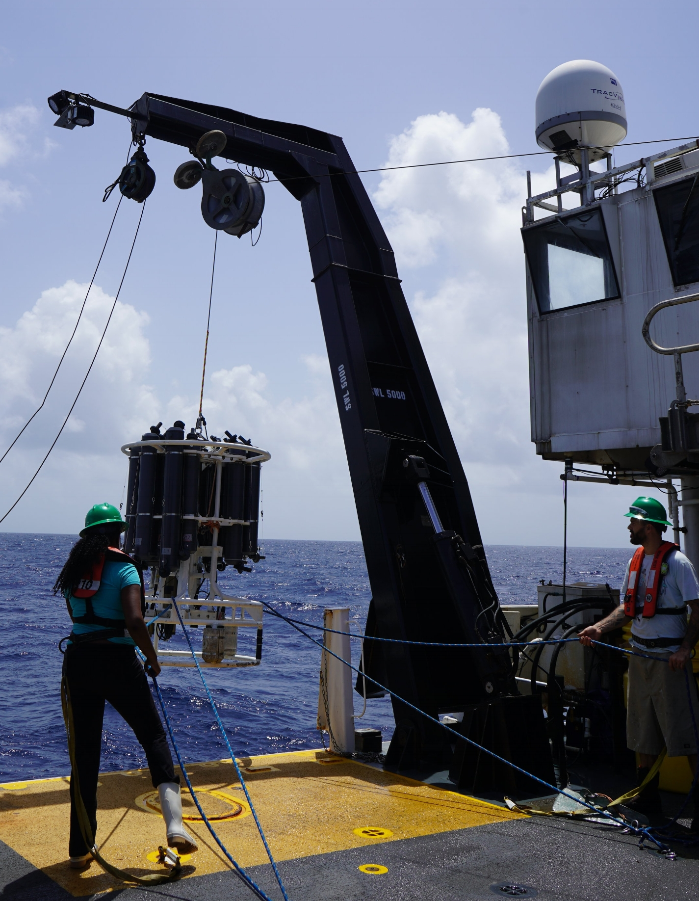 Zola spent her time onboard the Nancy Foster assisting with sample collection and data analysis.  Photo: Vanessa McKague