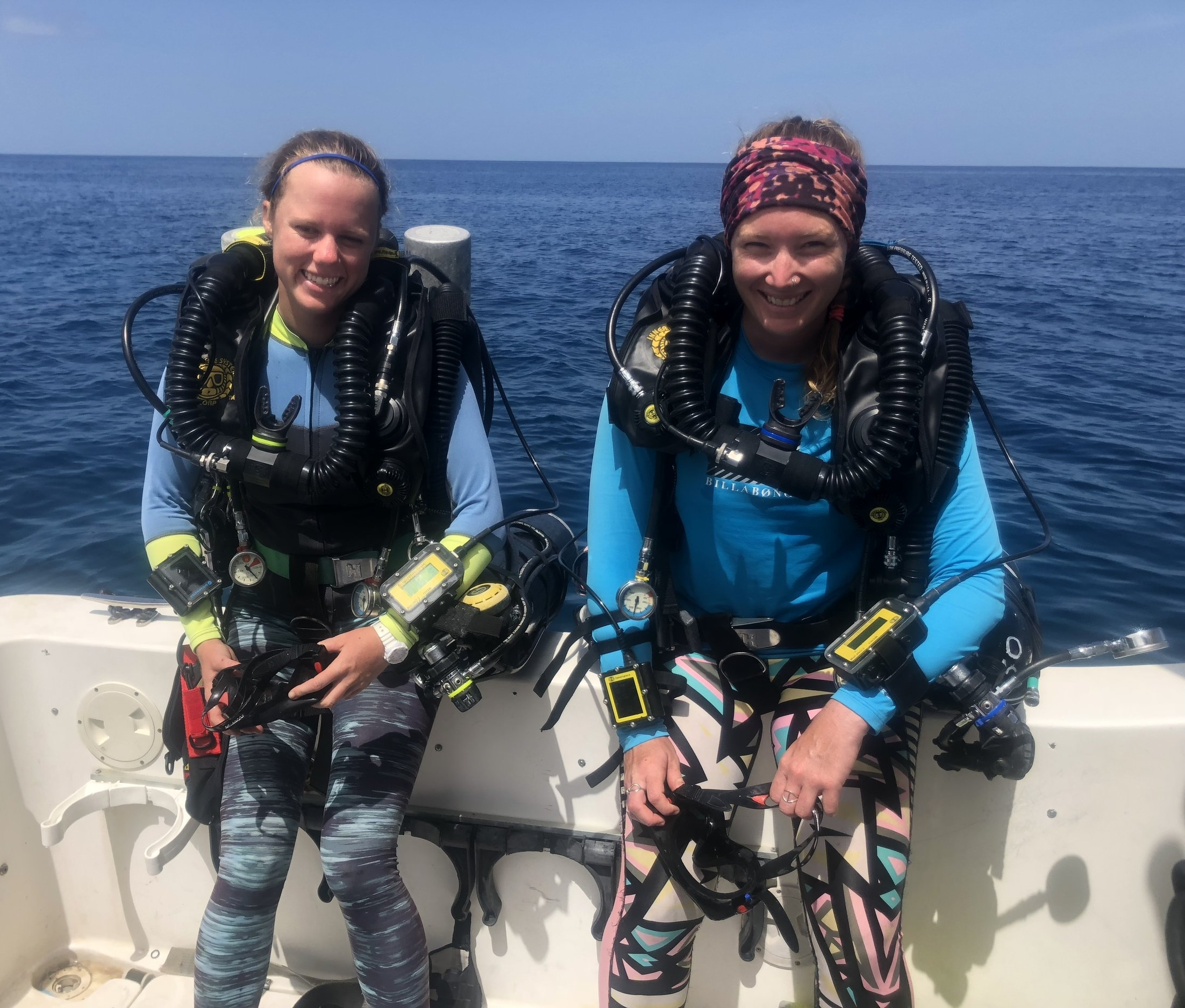 Sarah Heidmann and Rosmin Ennis have also earned certification in closed circuit rebreathers, greatly expanding the time and depth available to them for deep water coral and fish ecology research