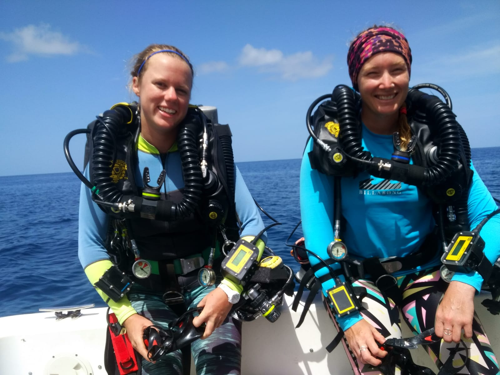 Heidmann and Ennis returning from a recent Closed Circuit Rebreather (CCR) training dive. Photo by Viktor Brandtneris