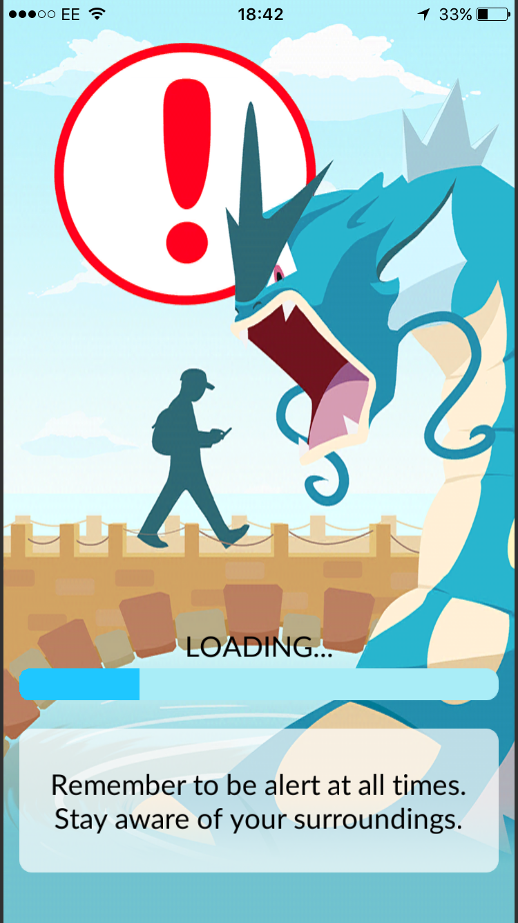 The loading screen. Exciting!An element of real life danger. Truly 'augmented reality'.