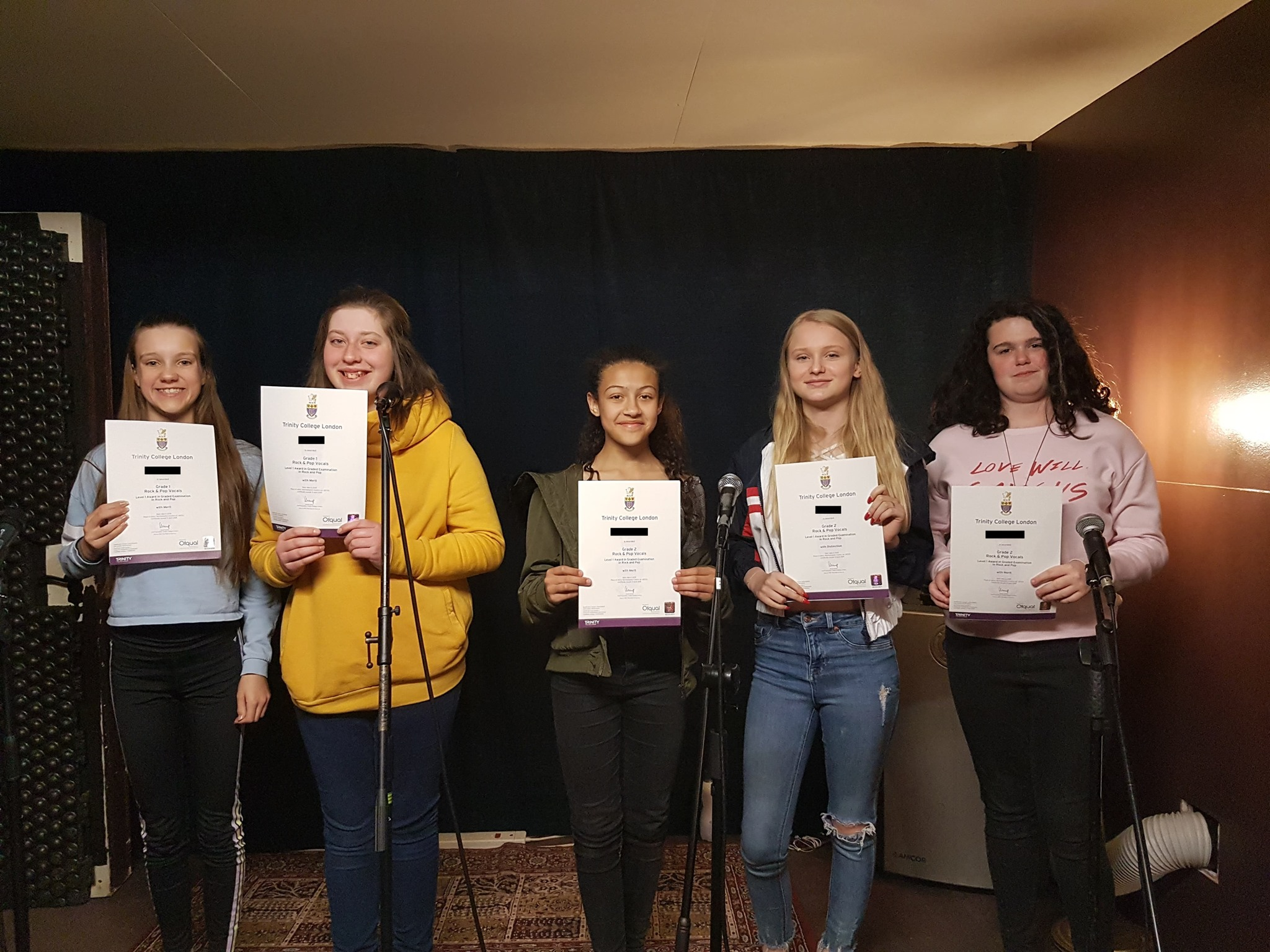 Our students work towards taking the prestigious Trinity rock and pop vocal examinations