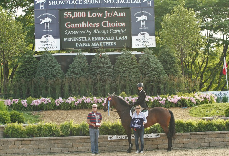 $5000 Low Junior/Amateur Owner Gambler's Choice, sponsored by Always Faithful   Peninsula Emerald Lass, owned by Melissa Hirt, claimed the title in the Low Gambler's Choice with rider Paige Matthies.