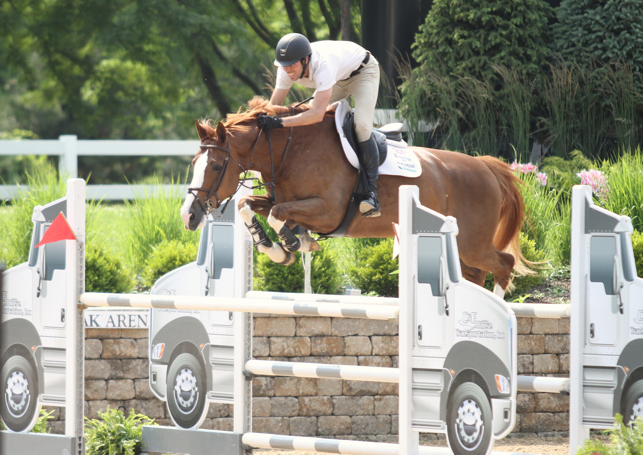 Ryan Genn got the ride on Bugatti, owned by Eduardo Leon in the $2,500 1.40m Open Jumpers, sponsored by Nick Novak