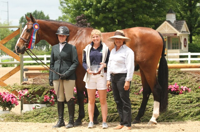 "$1,000 Amateur Owner Hunter 3'3"" Champion  Optimized and Colby Hassfurther, with Hannah and Connie Stevens"