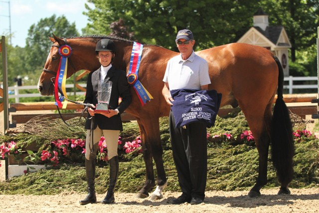 "$2,000 Amateur Owner Hunter 3'6"" Champion  Because, owned and ridden by Jane Gaston, with Larry Glefke This horse-rider combination topped the Amateur Owner division for a second week."