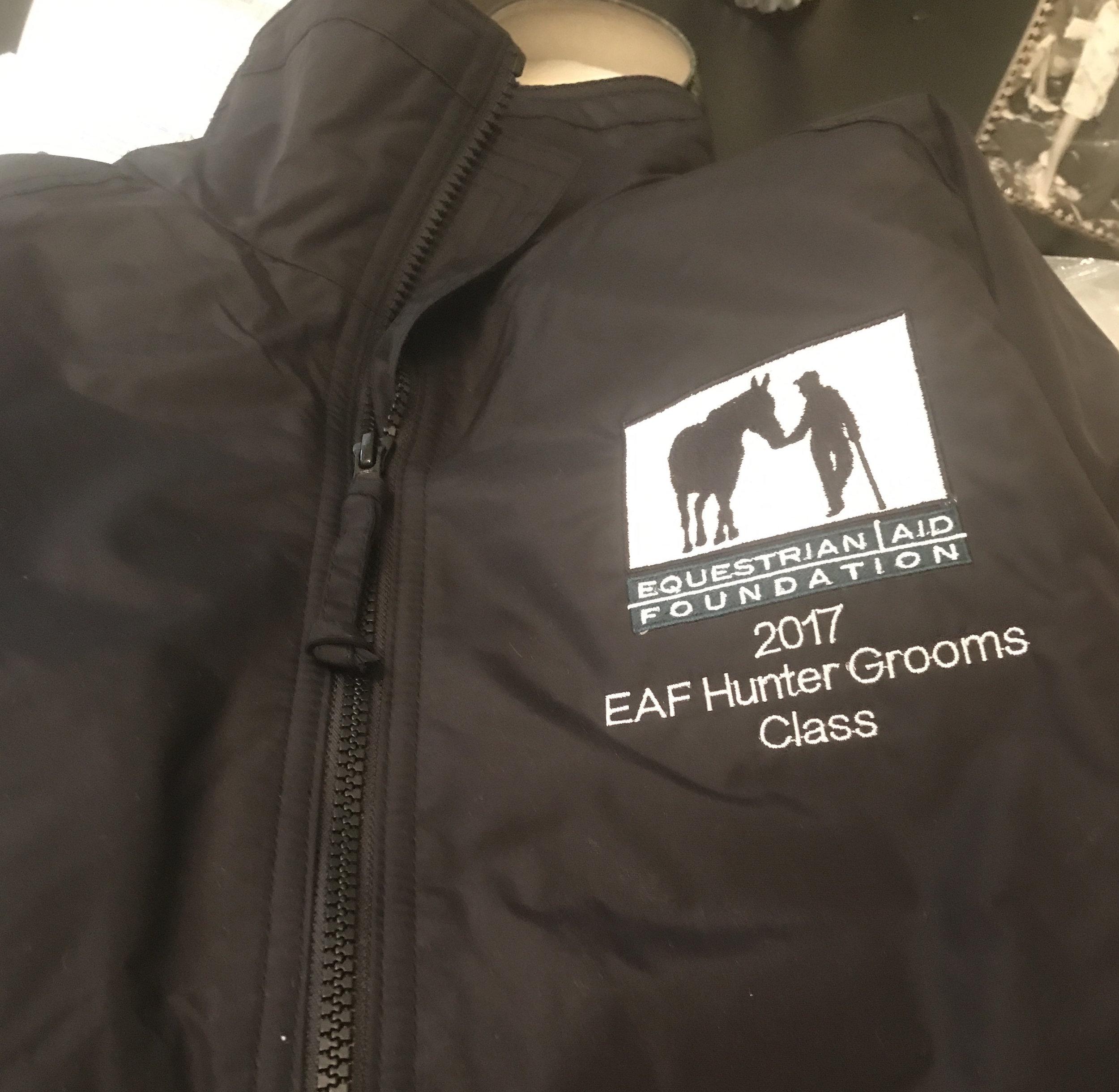 Missy Luczak-Smith and Doug Smith donated The Clothes Horse Equestrian Aid Foundation jacket. Photo courtesy of Missy Luczak-Smith.