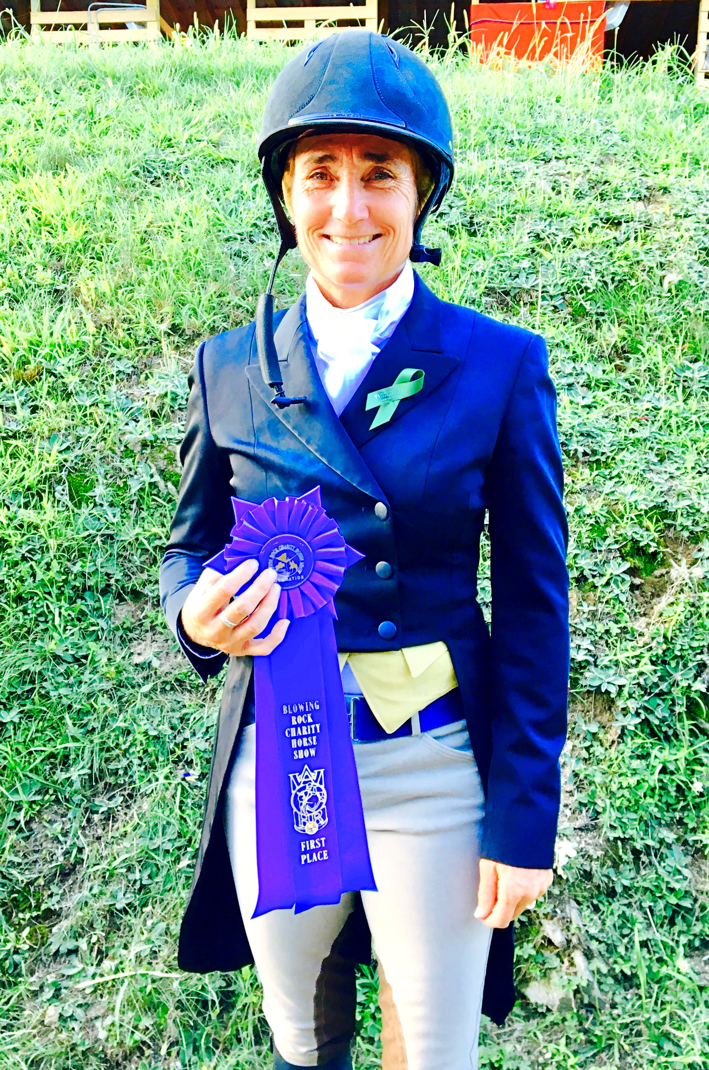 Havens Schatt said her Equestrian Aid Foundation  Show You Care  lapel ribbon was a lucky charm for the win of the $15,000 Kathryn G. Clark Memorial Challenge Championship aboard Julia McNerney's Crack. Photo courtesy of Missy Luczak-Smith