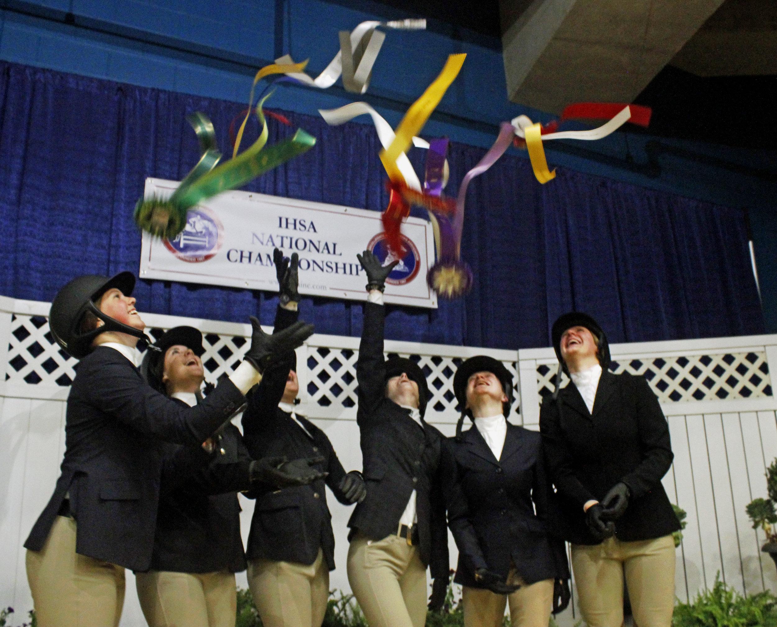 Hunter Seat riders celebrate at IHSA National Championship. Photo by Erin O'Neill.