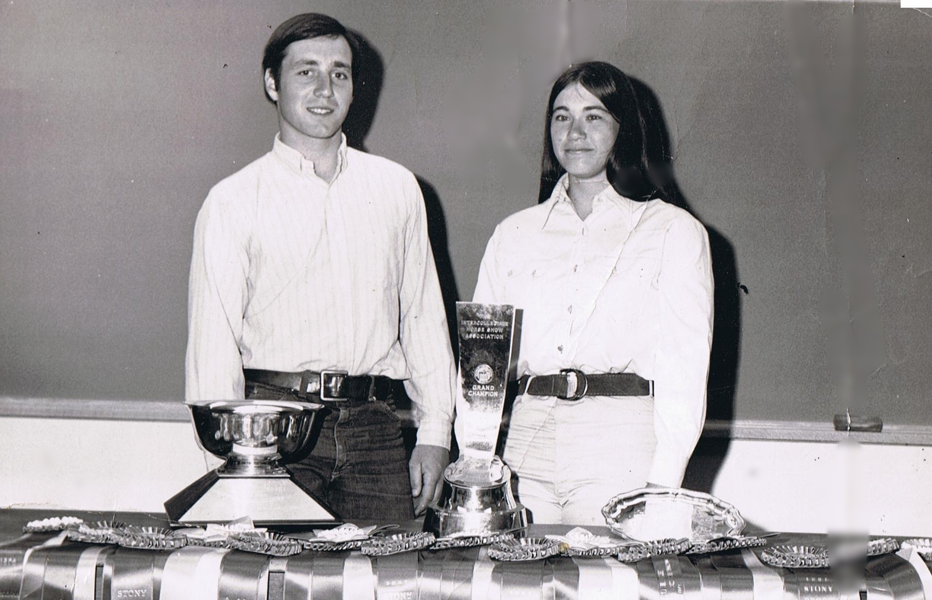 Duncan Peters and Anne Mather Brzezicki student coached the 1972 UConn IHSA team to the National Championship. Photo courtesy of UConn.