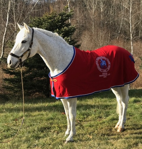 McLain Ward and Sapphire's cooler from their win in the 2008 President's Cup Grand Prix at Washington International Horse Show. modeled by Merlin. Photo by Kelli A. Kelliher