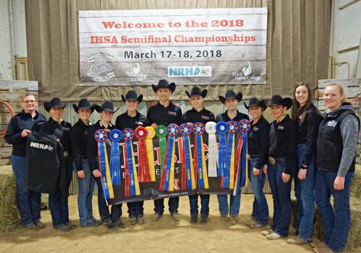 """University of Nebraska-Lincoln """"Husker"""" Equestrian Team won the overall Team championship at the Black Hawk College Semi-Finals. Coach Lori Jaixen Team is pictured with the team riders, including Selena Finn, Anna Heusinger, Sierra Nelson, Audrey Heusinger and Brooke Imm. Photo courtesy of the Husker Equestrian Team."""