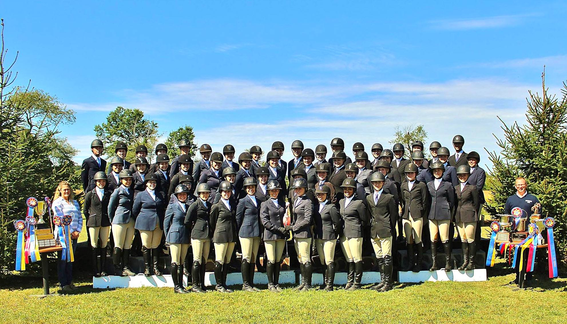 The Centenary IHSA team with coaches Heather Clark and Michael Dowling .  Photo courtesy of Centenary University Equestrian
