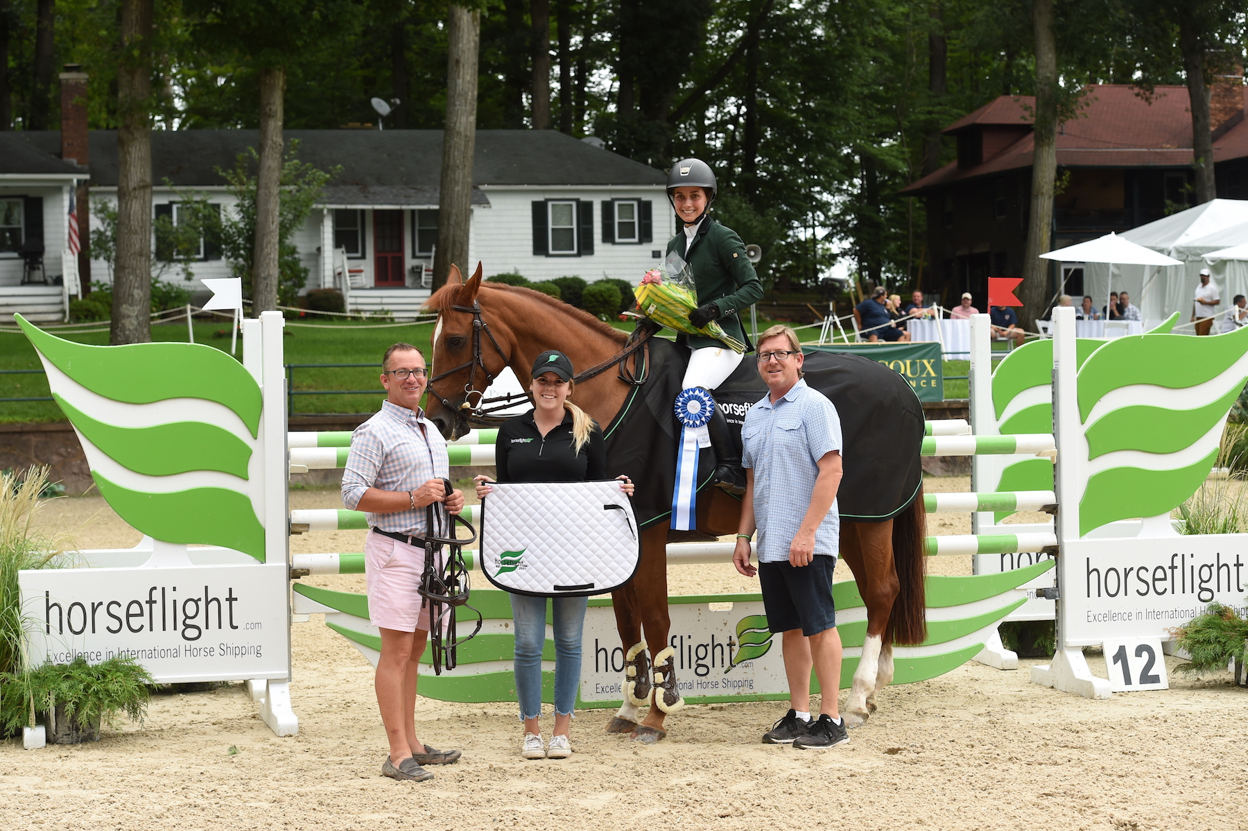 Sima Morgello and Orientales accepted their award from Tucker Ericson and Michael Dowling, co-owners of Monmouth at the Team, and Kaylee Donahue from Redfield Tack. Prizes included a Nunn Finer bridle from Boot and Bridle, a Back on Track Therapeutic Mesh Sheet and a Horseflight saddle pad from Redfield Tack. Photo by Anne Gittins Photography