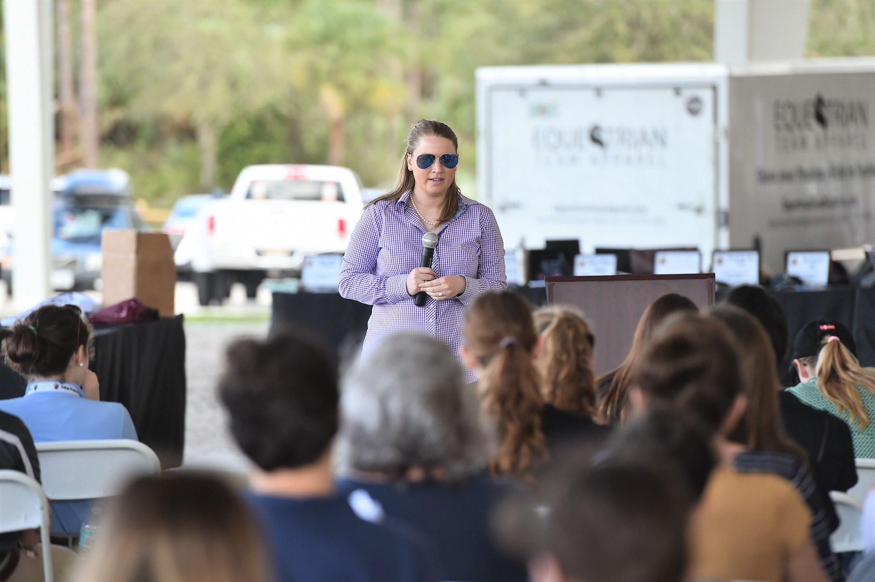 Dr. Piper Klemm, publisher of The Plaid Horse, speaks to students at the 2018 CPI Florida. Photo by Andrew Ryback Photography