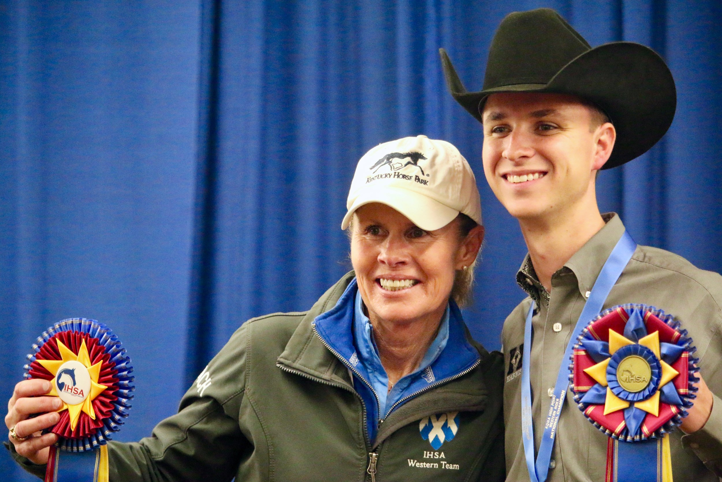 Carla Wennberg with her St. Andrews University student Connor Smith, 2018 AQHA High Point Western Rider at the IHSA National Championship Horse Show. Photo by EQ Media