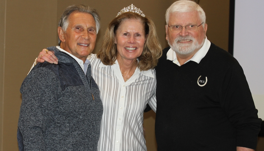 Bob Cacchione, Carla Wennberg and Jerry Steinmetz at the IHSA Board  Meeting after Megan Taylor presented Wennberg with the Lifetime  Achievement tiara in  fun and moving ceremony.  Photo by EQ Media