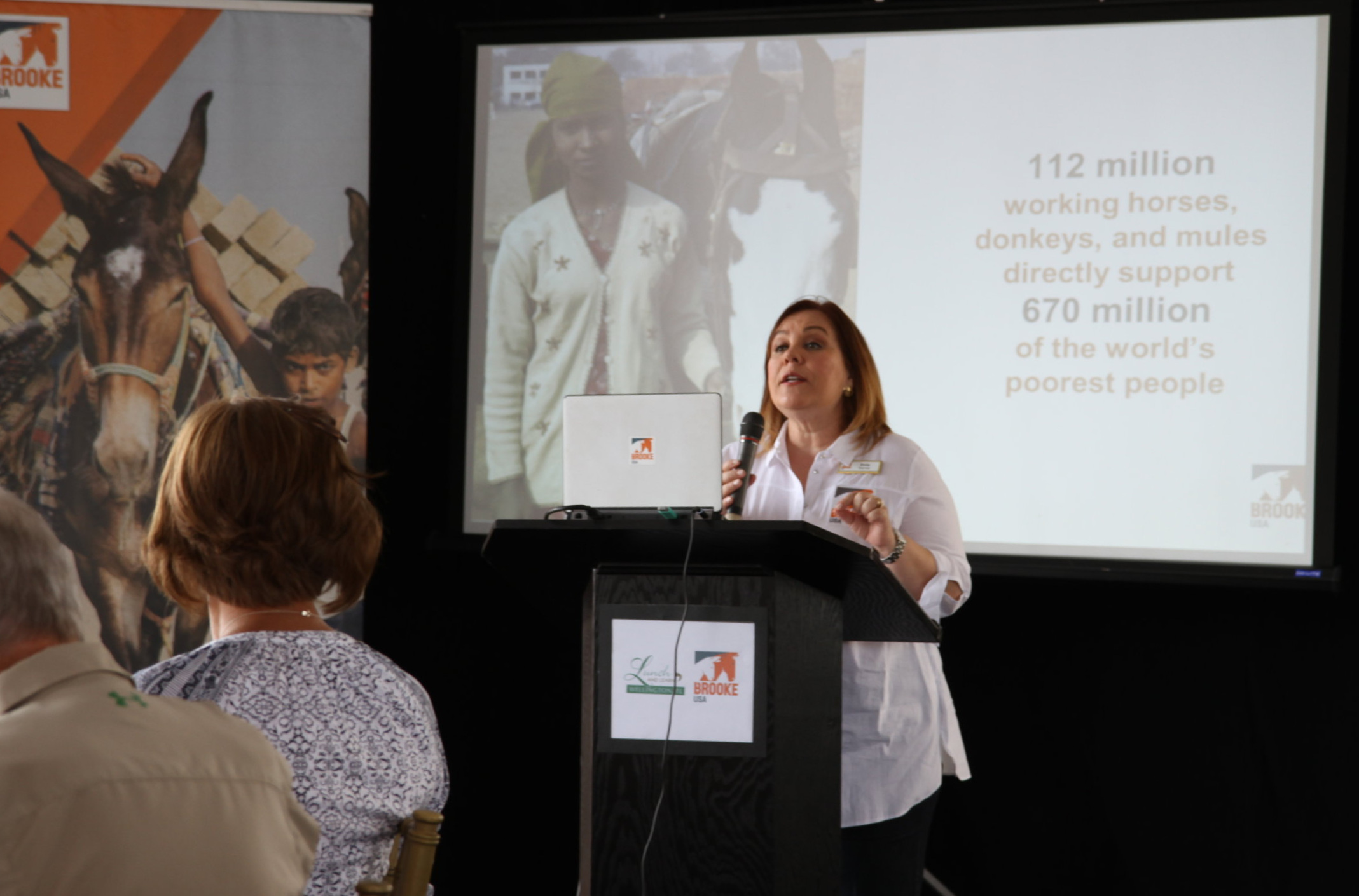 Emily Dulin, executive director of Brooke USA, speaks to the attendees. Photo by EQ Media