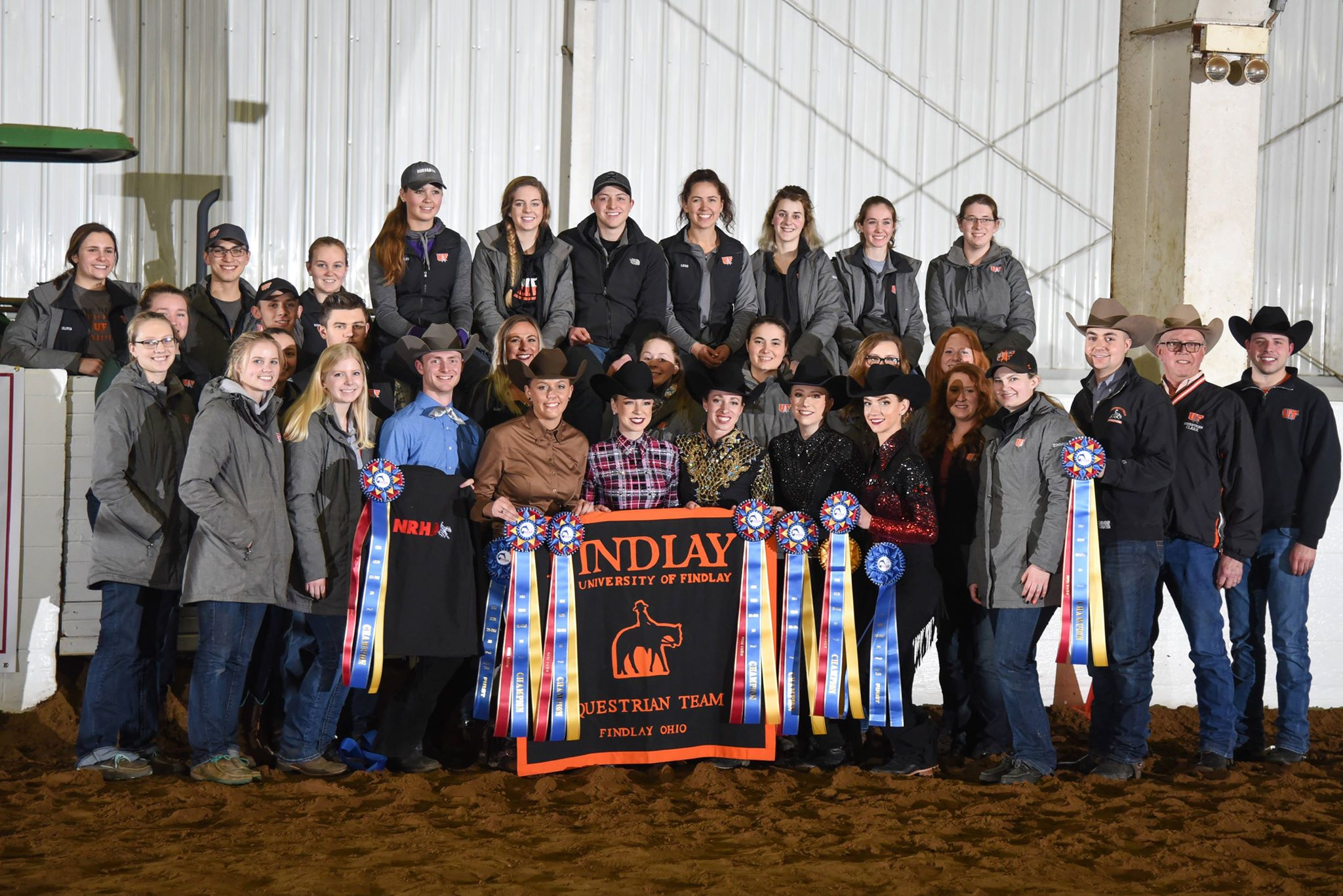 The 2018 National Champion University of Findlay team won the team  competition at their hosted Western Semi-Finals. They will join eight  teams and at the IHSA National Championship Horse Show in Syracuse to defend their title. Photo courtesy of University of Findlay