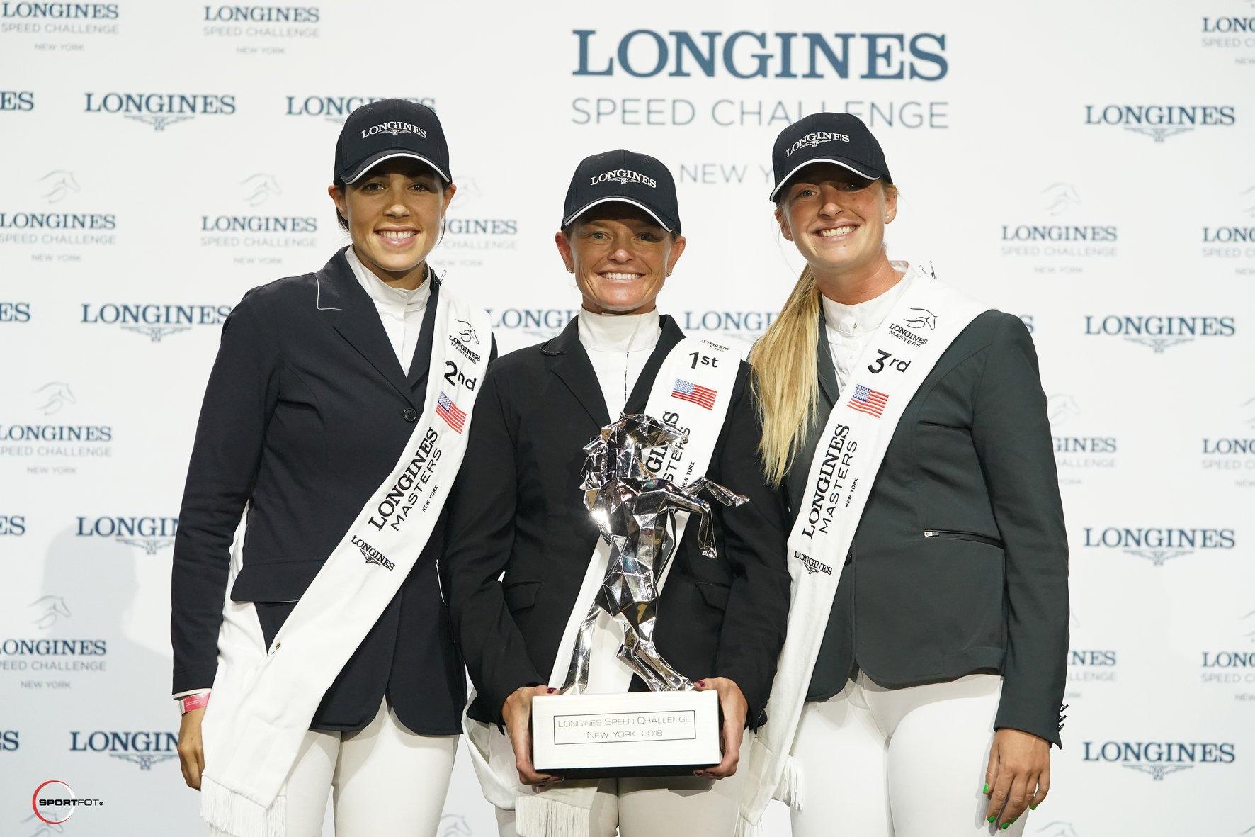 Brianne Goutal-Marteau, Erynn Ballard and Kristen Vanderveen earned the top three spots in the Longines Speed Challenge in 2018. Photo by SportFot