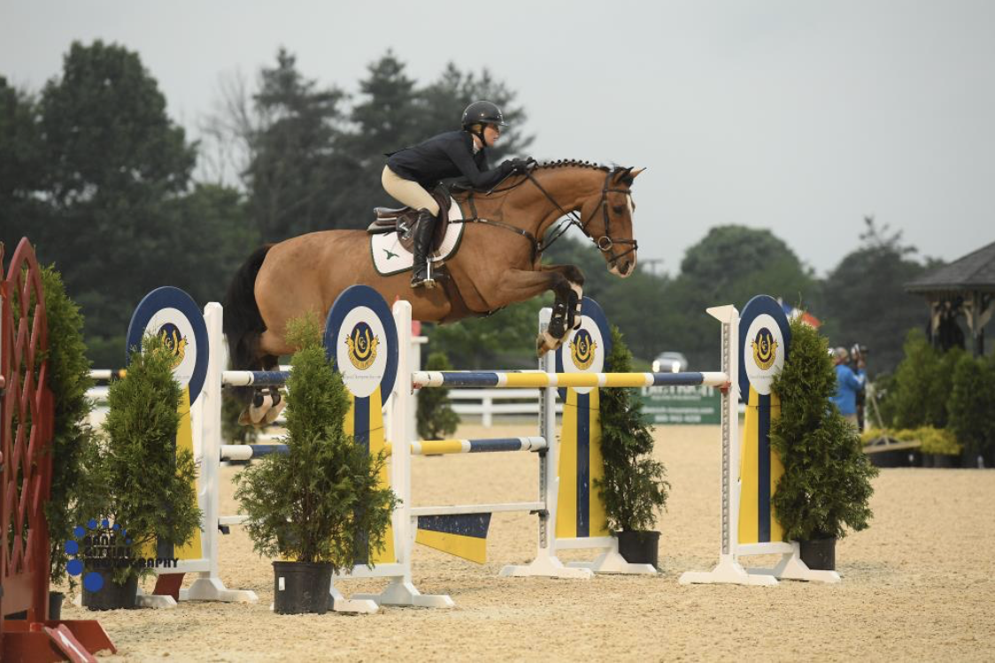 Haley Waters and Uppie De Lis won in the $10,000 1.40m Welcome Prix. Photo by Anne Gittins Photography