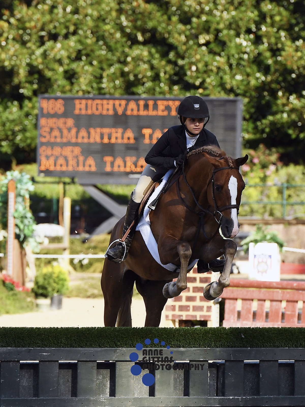 Highvalley and Samantha Takacs kicked off the morning with victory in the Children's Hunter Pony. Highvalley was imported by Stal De Eyckenhoeve. Photo by Anne Gittins Photography