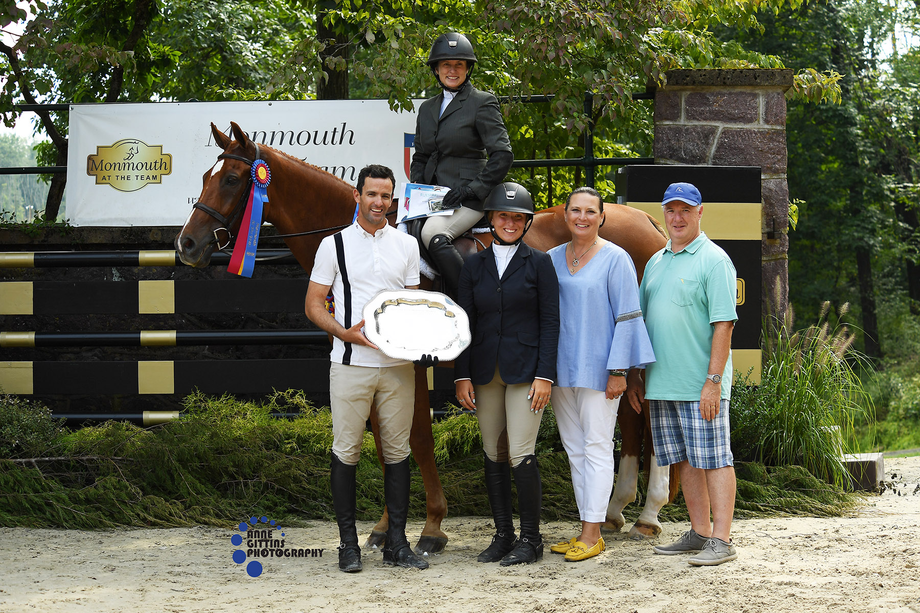 The Muhlhauser family presented the Calvaron Memorial Trophy to Karen Arrigoni and Lyrical. Photo by Anne Gittins Photography