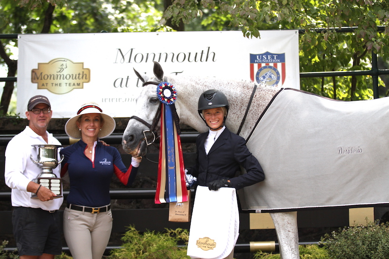 Elizabeth Marano presents The Marano Family Pre Children's Horse Perpetual Trophy to Ava Farley and Shine on Me with Michael Dowling from Windham Hill. Photo by EQ Media