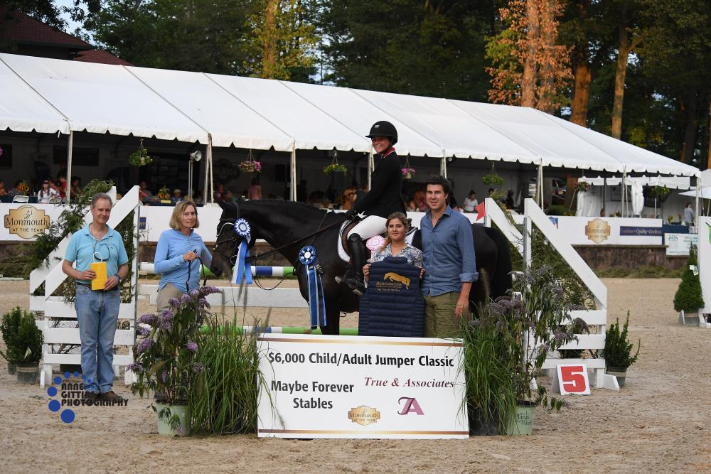 Christina Kourgelis and Mitesche won the $6,000 Child Adult Jumper Classic, sponsored by Maybe Forever Stable and True & Associates and the pair also won the Top Trip of the Day, sponsored by Maxime Tyteca and Niels Haesen from Stal De Eyckenhoeve. Photo by Anne Gittins Photography