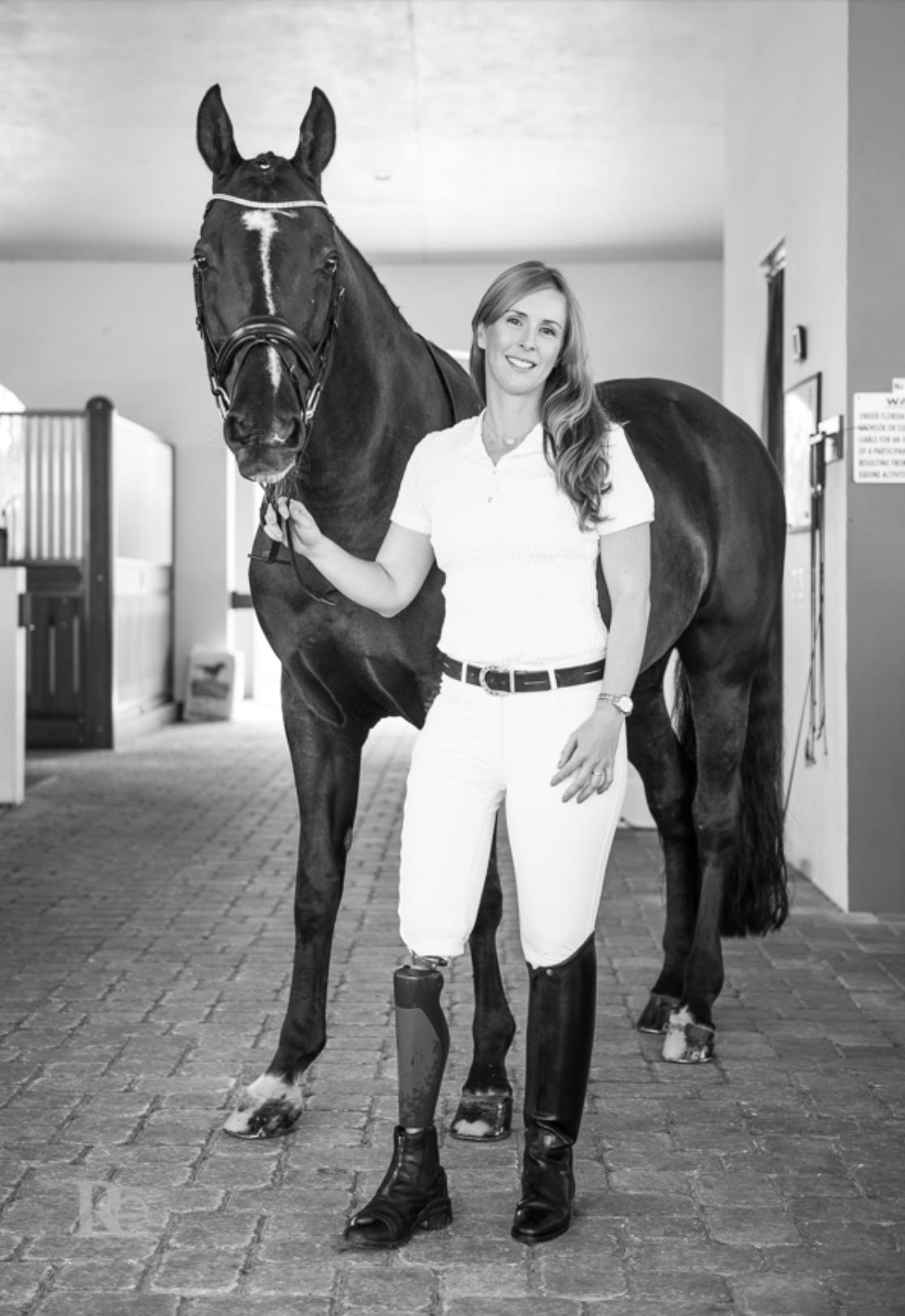 U.S. Para-Equestrian Dressage rider and cancer survivor Katie Jackson and her partner Diesel. Photo by Rachel Elizabeth Photography