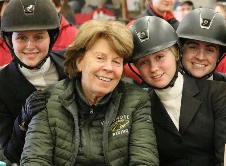 Cindy Ford with members of the Skidmore College Equestrian Team .Photo courtesy of Skidmore College