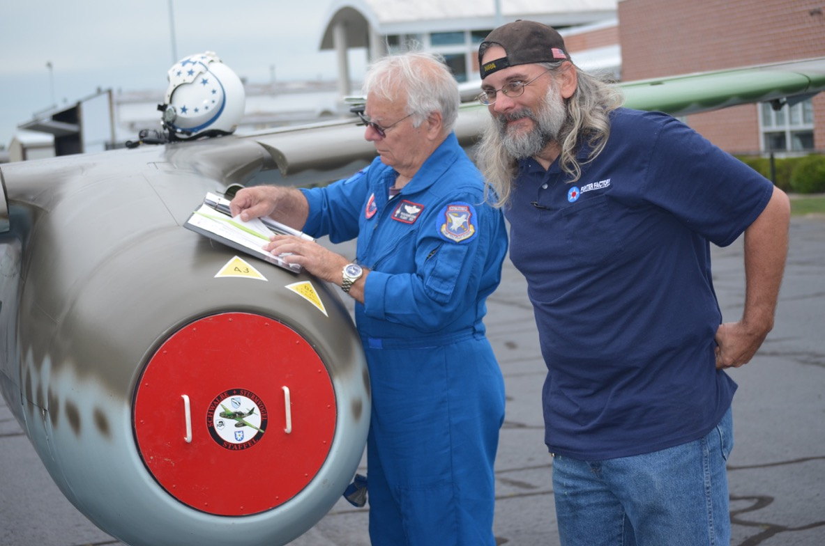 "Wolfgang with the Fighter Factory Manager ""TK"" with the Military Aviation Museum's ME-262."